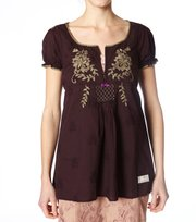 Odd Molly - light cotton embroidered s/s - DARK BROWN