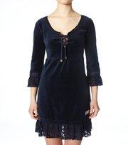 Odd Molly - velourette plain dress - DARK BLUE