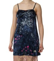 Odd Molly - A-one silk camisole long print - MID INDIGO
