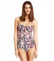 Odd Molly - safety position print swimsuit - ALMOST BLACK