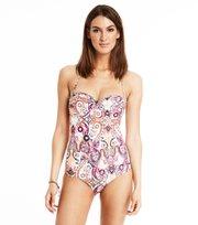 Odd Molly - safety position print swimsuit - LIGHT PORCELAIN