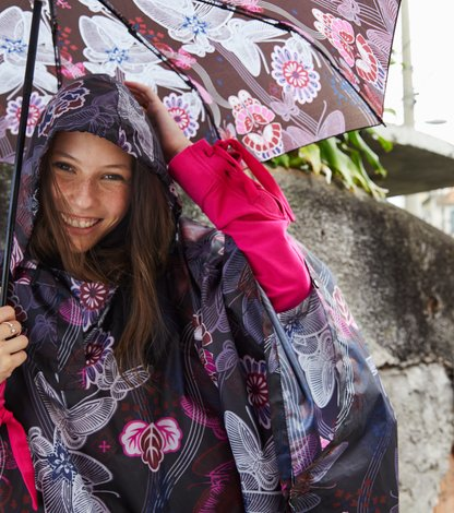monsoon printed rainponcho