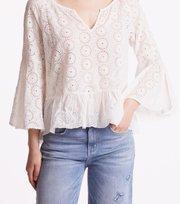 Odd Molly - side kick l/s blouse - LIGHT CHALK