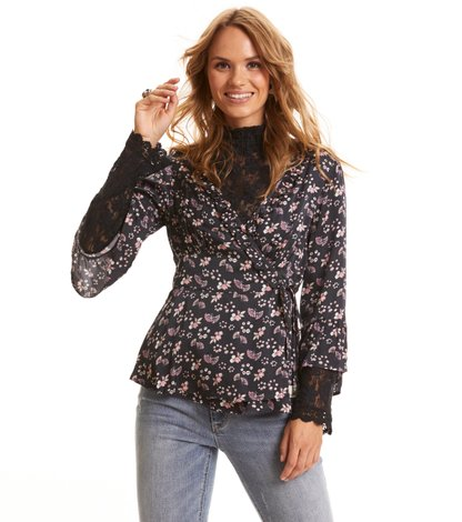 Cosmic Moments Wrap Bluse