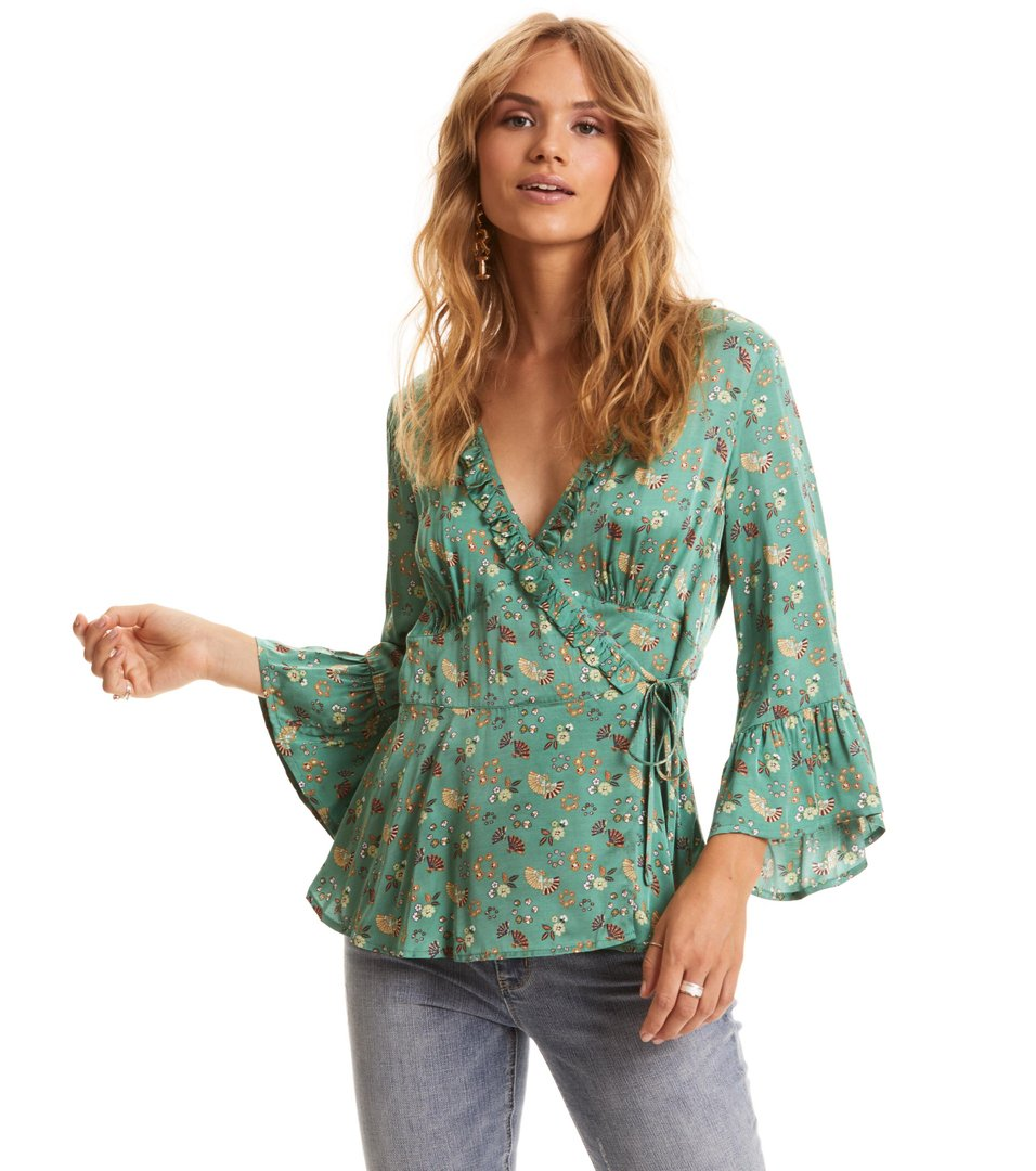 cosmic moments wrap blouse