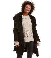 Odd Molly - rhythm shearling coat - ALMOST BLACK