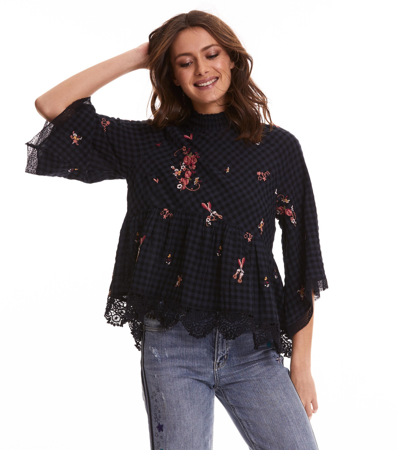 embroidered space roses blouse