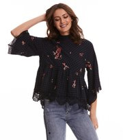 Odd Molly - embroidered space roses blouse - FRENCH NAVY