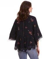 Odd Molly  - emb sapceroses blouse roundnec - FRENCH NAVY
