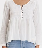 Odd Molly - fring swing blouse - LIGHT CHALK