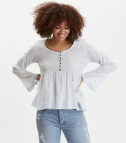 Odd Molly  - fring swing blouse - AIR BLUE