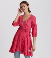 Odd Molly - two-step flow dress - HOT PINK