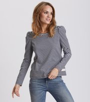 Odd Molly - miss stripes top - ASPHALT