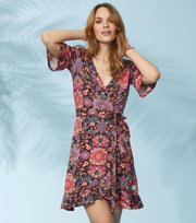 Odd Molly - flower wrap dress - DARK BROWN