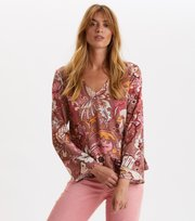 Odd Molly - Puzzle Me Together Blouse - RED TAUPE