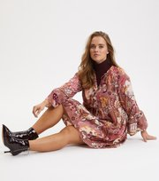 Odd Molly - Puzzle Me Together Dress - RED TAUPE
