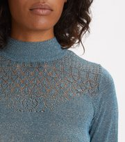 Odd Molly - Pretty Pointelle Turtleneck - BLUE CORAL