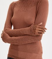Odd Molly - Pretty Pointelle Turtleneck - RUST