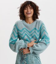 Odd Molly - Magnetic Striped Sweater - SPRING BLUE