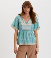 Odd Molly - Bohemic S/L Blouse - MOROCCAN TURQUOISE