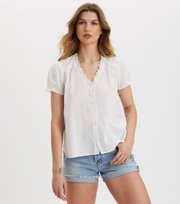 Odd Molly - Sleeves Up S/S Blouse - LIGHT CHALK