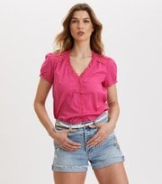 Odd Molly - Sleeves Up S/S Blouse - BRILLIANT CERISE