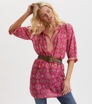 Odd Molly - Wow Woven Tunic - BRILLIANT CERISE