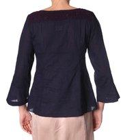 Odd Molly - light cotton embr l/s blouse - DARK INDIGO
