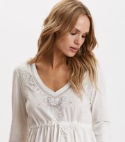 Odd Molly - Flower Fantasia Top - LIGHT CHALK
