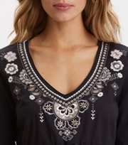 Odd Molly - Flower Fantasia Top - ALMOST BLACK
