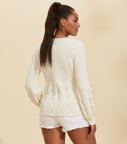 Odd Molly - Stay Grounded Pullover mit V-Ausschnitt - LIGHT CHALK