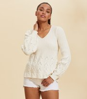 Odd Molly  - Stay Grounded V/Neck Sweater - LIGHT CHALK