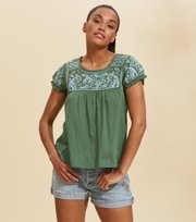 Odd Molly - Mariah S/S Blouse - TROPICAL GREEN