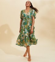 Odd Molly - Run With The Sun Long Dress - BOTTLE GREEN