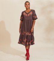 Odd Molly - Free The Flower Dress - BROWN ASH