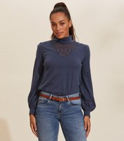Odd Molly - Camille Turtle L/S Top - DARK BLUE