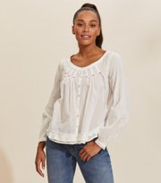 Odd Molly - Josephine Solid Bluse - LIGHT CHALK