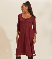 Odd Molly - Always Sunny L/S Dress - BAKED BURGUNDY