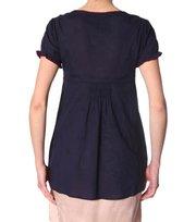 Odd Molly - light cotton embro s/s blouse - DARK INDIGO