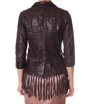 Odd Molly - leatherette fringed jacket - VINTAGE DARK GREY